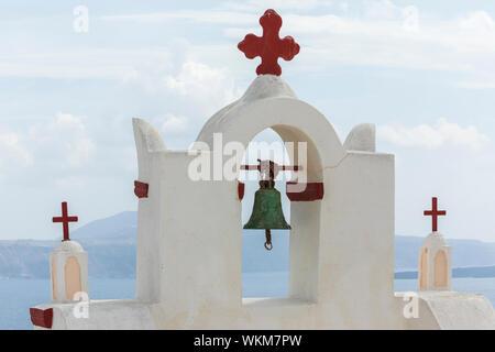 View of Ekklisia Isodia Theotokou bell tower out to sea, Oia