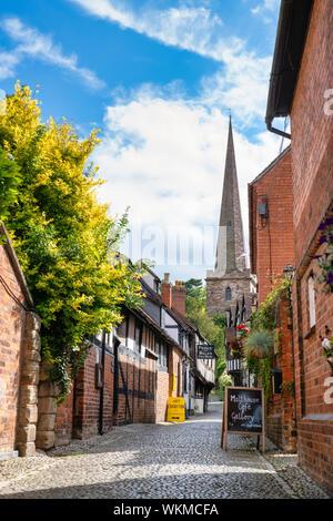 Timber framed period buildings along church lane, Ledbury Herefordshire. England - Stock Photo