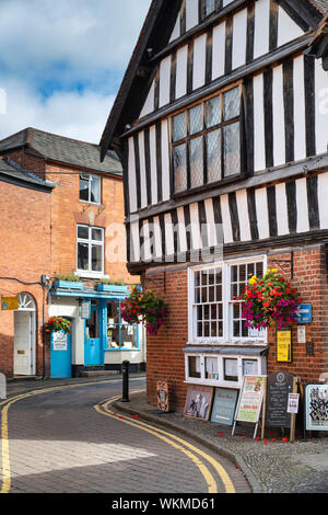 Red brick period buildings along church street, Ledbury, Herefordshire, England - Stock Photo