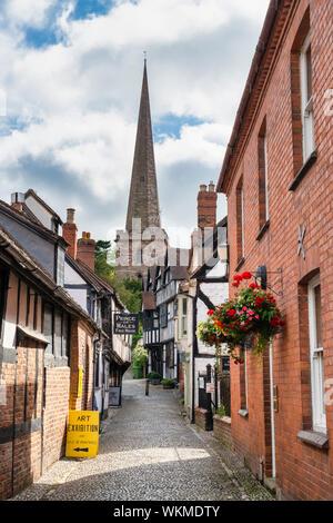 Timber framed period buildings along church lane. Ledbury, Herefordshire, England - Stock Photo