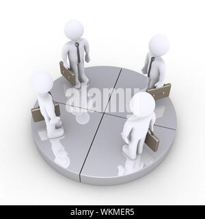 Four businessmen stand together on grey pie chart slices - Stock Photo