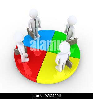 Four businessmen stand together on pie chart slices - Stock Photo