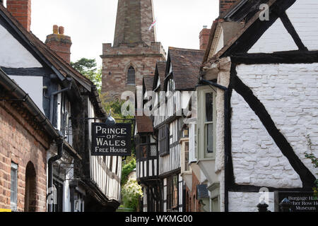 Prince of wales free house sign. 16th century timber framed period building. Church lane, Ledbury Herefordshire. England - Stock Photo