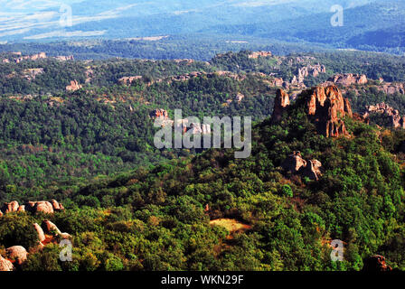 High Angle View Rock Formations On Hilly Landscape - Stock Photo