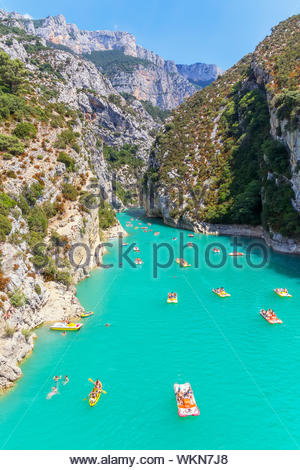 Lake of Sainte-Croix, Gorges du Verdon, Alpes-de-Haute Provence, Provence, France, Europe - Stock Photo