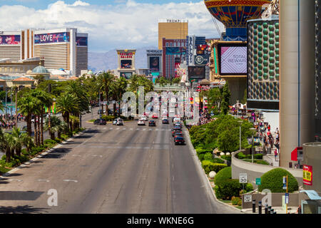 Las Vegas, Nevada / USA – May 11, 2019: Heavy traffic and crowds of people on Las Vegas Blvd in Las Vegas, Nevada. - Stock Photo