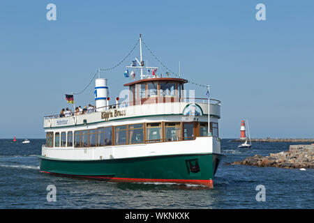 excursion boat on River Unterwarnow, Warnemünde, Rostock, Mecklenburg-West Pomerania, Germany - Stock Photo