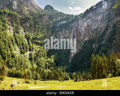 Roethbach waterfall in Berchtesgaden, Bavaria, Germany - Stock Photo