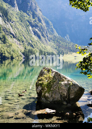 Lake Obersee in Berchtesgaden, Bavaria, Germany - Stock Photo