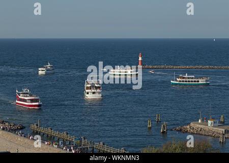 excursion boats on River Unterwarnow, Warnemünde, Rostock, Mecklenburg-West Pomerania, Germany - Stock Photo