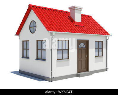 Small three-dimensional house with red roof on a white background - Stock Photo