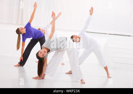 Diverse group of people practicing yoga in fitness studio - Stock Photo