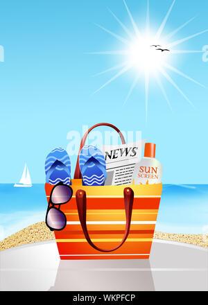 Beach bag - Stock Photo