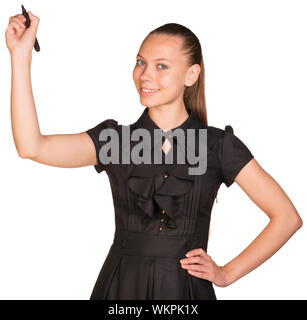 Young business woman writing with pen. Hand on hip. Isolated on white background - Stock Photo