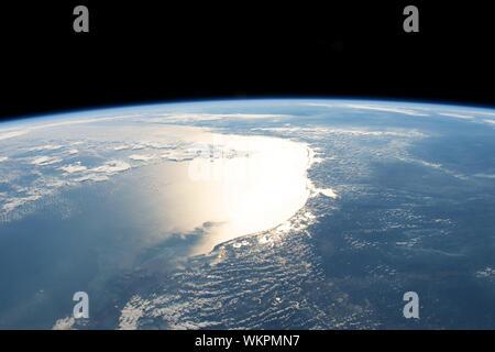 Gulf of Mexico, coasts of Texas and Louisiana, from ISS, 254 miles above earth, January 30, 2019. By NASA/DPA - Stock Photo
