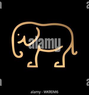 Hand drawn golden elephant art on black background vector illustration - Banner,background,card,logo,sign etc.