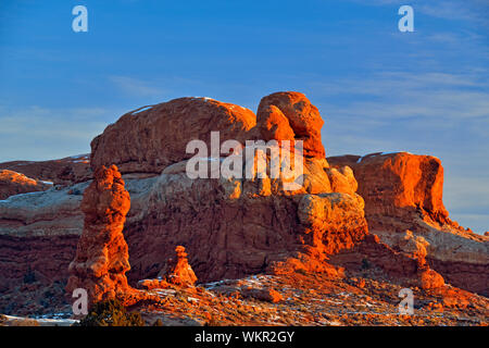 Sandstone pinnacles in a winter landscape, Arches National Park, Utah, USA - Stock Photo