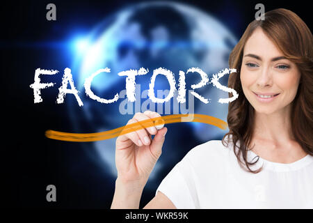 Businesswoman writing the word factors against glowing earth with binary code - Stock Photo