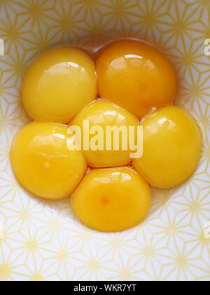 Directly Above View Of Egg Yolk In Bowl - Stock Photo