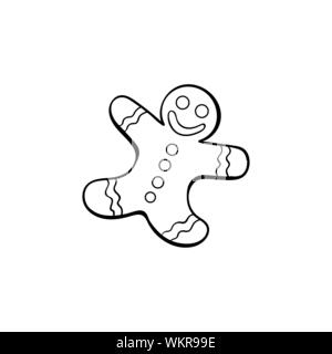 Gingerbread man hand drawn vector illustration. Tasty human shaped smiling cookie colouring picture. Traditional homemade snack, christmas biscuit outline drawing. Delicious pastry, bakery product - Stock Photo