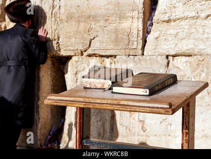 JERUSALEM, ISRAEL - MAY 1, 2015: Western Wall also known as Wailing Wall or Kotel in Jerusalem. People from all over the world come to pray. It's sacr - Stock Photo