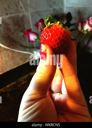 Cropped Image Of Woman Holding Strawberry - Stock Photo