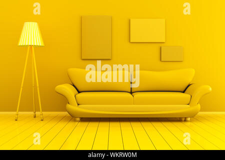 Monochromatic 3D rendered Illustration of a interior with blank picture frames against the wall. - Stock Photo