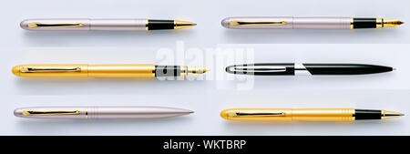 Directly Above Shot Of Various Pens Arranged On White Background - Stock Photo