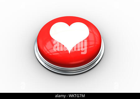 Composite image of heart on digitally generated red push button - Stock Photo