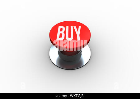 The word buy on digitally generated red push button - Stock Photo