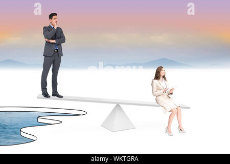 White scales weighing businessman and businesswoman over pool of water - Stock Photo
