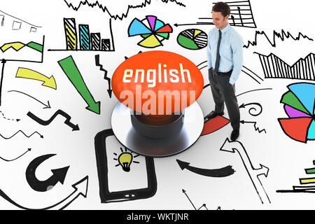 The word english and happy businessman standing with hands in pockets against orange push button - Stock Photo