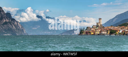 This is the village of Malcesine on Lake Garda in Italy - Stock Photo