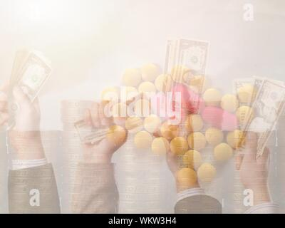 Digital Composite Image Of Hands Holding Paper Currency Against Pills - Stock Photo