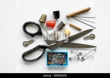 High Angle View Of Various Objects Against White Background - Stock Photo