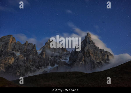 Panoramic View Of Mountains Against Sky At Night - Stock Photo