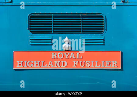 Close up of Class 55 Deltic 55019 Royal Highland Fusilier showing the locomotive's nameplate - Stock Photo