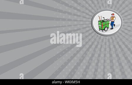 Business card showing illustration of a street cleaner worker pushing a cleaning trolley viewed from front set inside an oval circle on isolated backg - Stock Photo
