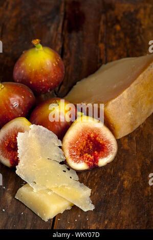 pecorino cheese and fresh figs - Stock Photo