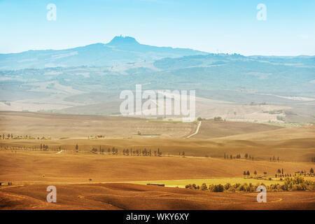 View form town Pienza to monte volcano Amiata in Tuscany, Italy - Stock Photo