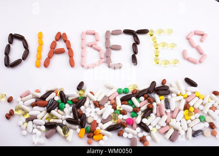 Conceptual Hand writing text caption inspiration Medical care Health concept written with pills drugs capsule word diabetes On white isolated backgrou - Stock Photo
