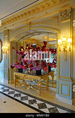 GENEVA, SWITZERLAND -24 JUN 2019- View of the luxury Four Seasons Hotel des Bergues, a landmark waterfront building on the lake in Geneva, Switzerland - Stock Photo