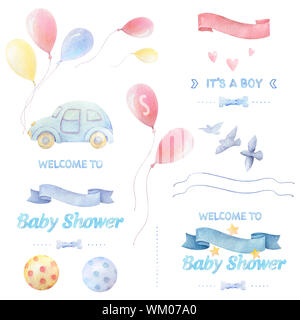 Watercolor baby clipart. Baby shower Boy. Lettering. Colorful balloons, balls, birds, hearts, stars, ribbons, bow tie, auto. White background. Print q - Stock Photo