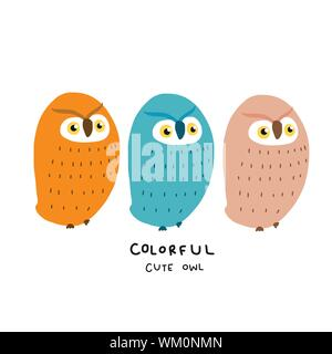Colorful cute owl flat design cartoon vector illustration