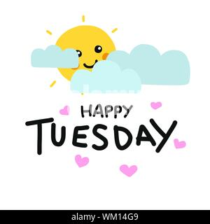 Happy Tuesday cute sun smile and cloud cartoon vector illustration doodle style - Stock Photo