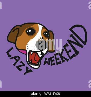 Jack Russell dog lazy weekend cartoon vector illustration - Stock Photo