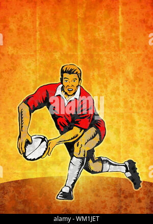 poster illustration of a rugby player running passing with ball with grunge texture background - Stock Photo