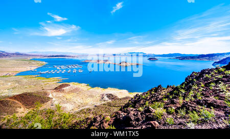 Low water level in Lake Mead, formed by the Colorado River and the the Hoover Dam in Black Canyon on the border of the states of Nevada and Arizona US - Stock Photo