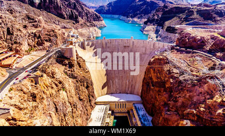 Frontal view of the Hoover Dam, a concrete arch dam in the Black Canyon of the Colorado River, on the border between Nevada and Arizona in the USA