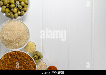 Spices on white wood, focus on all - Stock Photo